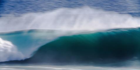 Long Exposure Image of Blue Ocean Big Mavericks Wave, California