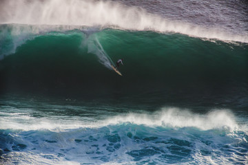 Image Surfer on Blue Ocean Big Mavericks Wave in California