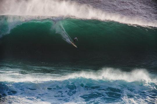 Image Surfer on Blue Ocean Big Mavericks Wave in California