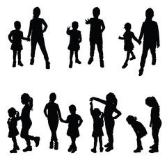 girls silhouette vector in black