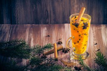 Warm tea orange cloves ginger lemon honey