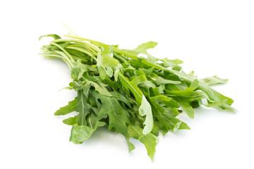 Rucola salat isoliert freigestellt auf weißen Hintergrund, Freisteller