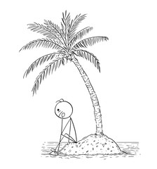 Cartoon stick man drawing conceptual illustration of man or businessman sitting alone on small island under palm tree. Business concept o loneliness and isolation.