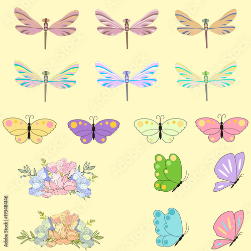 Spring set for design of multicolored butterflies dragonflies and spring set for design of multicolored butterflies dragonflies and flowersn be used for filmwisefo