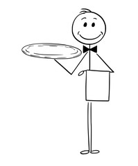 Cartoon stick man drawing conceptual illustration of waiter holding empty silver tray.