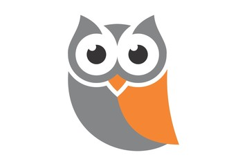 Aluminium Prints Owls cartoon cute owl logo vector dsign