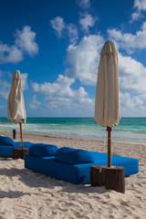 Luxury blue beach chairs on the beach,Mexico