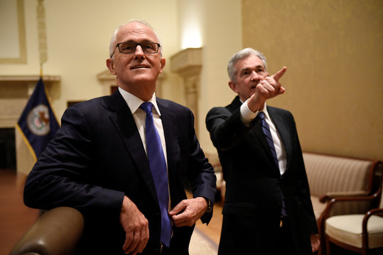 U.S. Federal Reserve Chairman Powell meets with Australian Prime Minister Malcolm Turnbull at the Federal Reserve in Washington