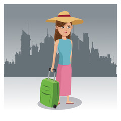 Tourist in the city cartoon vector illustration grapic design