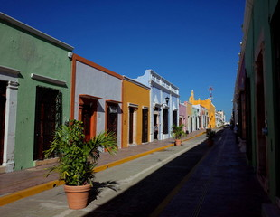 A pretty street in the walled city of Campeche in Mexico