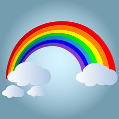 Color Rainbow With Clouds. Vector Illustration