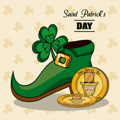 Elf shoe and coins vector illustration grapic design