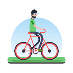Man riding bicycle outdoor for environment help