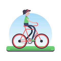 Woman riding bicycle outdoor for environment help
