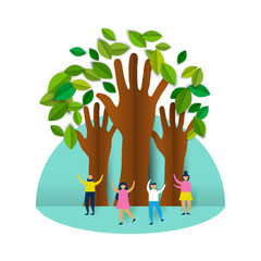 Wall Mural - Happy eco friendly people group with paper trees