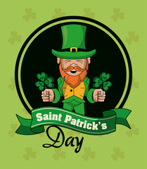 Saint patricks elf cartoons card vector illustration grapic design