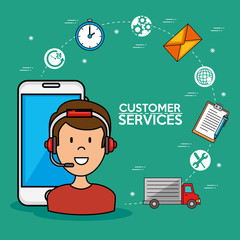 Man call center service speaking by phone, icons smarphone, vector illustration