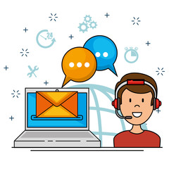 Icon man with laptop speaking, support call center concept, vector illustration