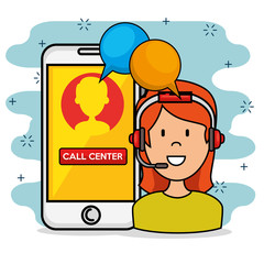 Woman with headset speaking call center support service and smarphone, vector illustration