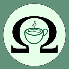 A green cup of coffee or a cup of tea on a green background. Vector icon of a cup of coffee