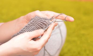 young girl knits, knitting, hobbies, master class, creativity