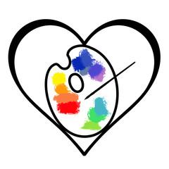 palette de peintre dans un coeur