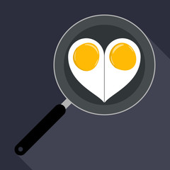 Two eggs in a pan in the form of heart.