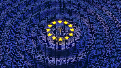 EU GDPR data bits and bytes wave ripples