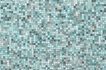 Blue mosaic wall background texture