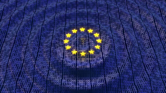 EU GDPR data bits and bytes wave ripples