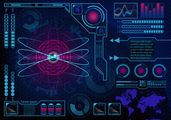 Futuristic radar atom user interface. HUD. Infographics futuristic blue background. GUI hologram set with world map.  Lungs, heart, batteries. Vector EPS 10.