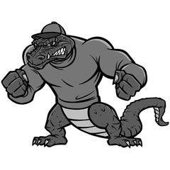 Gator Mascot Extreme Illustration - A vector cartoon illustration of a sports team Gator Mascot.