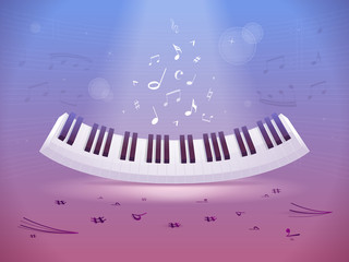 Abstract design with piano keyboard and music notes and symbols vector illustration