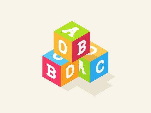 Children alphabet toy blocks with letters. Vector isometric flat illustration