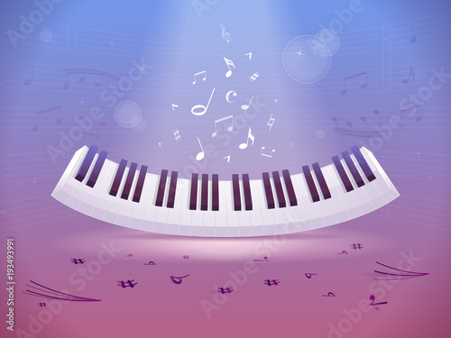 Abstract Design With Piano Keyboard And Music Notes And Symbols