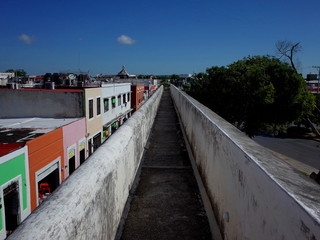A walk along the ancient fortifications in the walled city of Campeche in Mexico