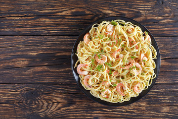 Linguine with Shrimps on black plate