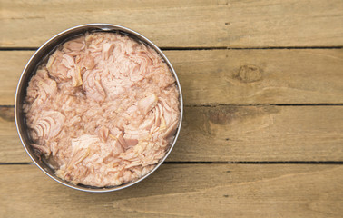 Open Can of Tuna in a Silver Tin