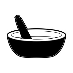 mortar and pestle icon image vector illustration design  black and white