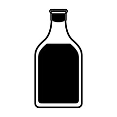 liquor bottle with blank label icon image vector illustration design  black and white