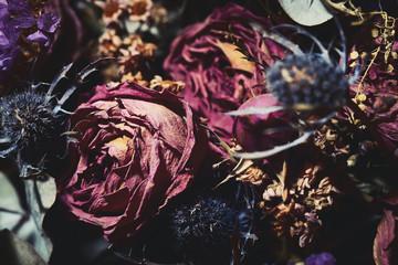 Foto auf Acrylglas Blumen Bouquet of dried flowers. Dark floral background