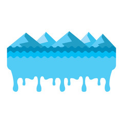 melted landscape mountains water disaster vector illustration