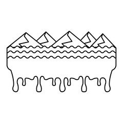 melted landscape mountains water disaster vector illustration outline graphic