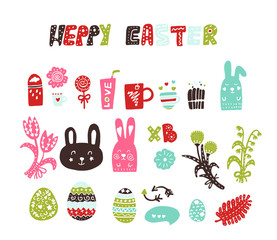Colored vector Easter stickers, stickers. The attributes of the feast of Easter: eggs, flowers, rabbits, treats, sweets