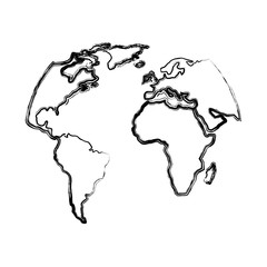 silhouette world map location planet vector illustration