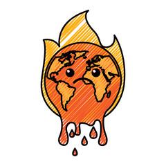 cartoon melted sad burning earth globe world vector illustration drawing graphic