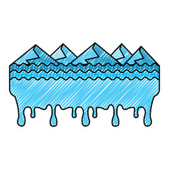 melted landscape mountains water disaster vector illustration drawing graphic