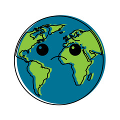 cartoon earth globe planet sad character vector illustration