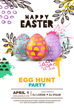 Easter egg hunt party vector poster design template. 3d decorative egg on watercolor splashes abstract background. Concept for banner, flyer, invitation, greeting card, holiday backgrounds.