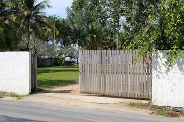 Wooden Gate in Phuket Island in Thailand.